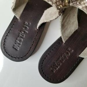 mystique Shoes - Mystique Leather Snakeskin Stud Slip On Sandal 10